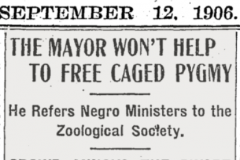 September 12, 1906 New York Times article revealing the indifference of city government to Ota Benga's plight